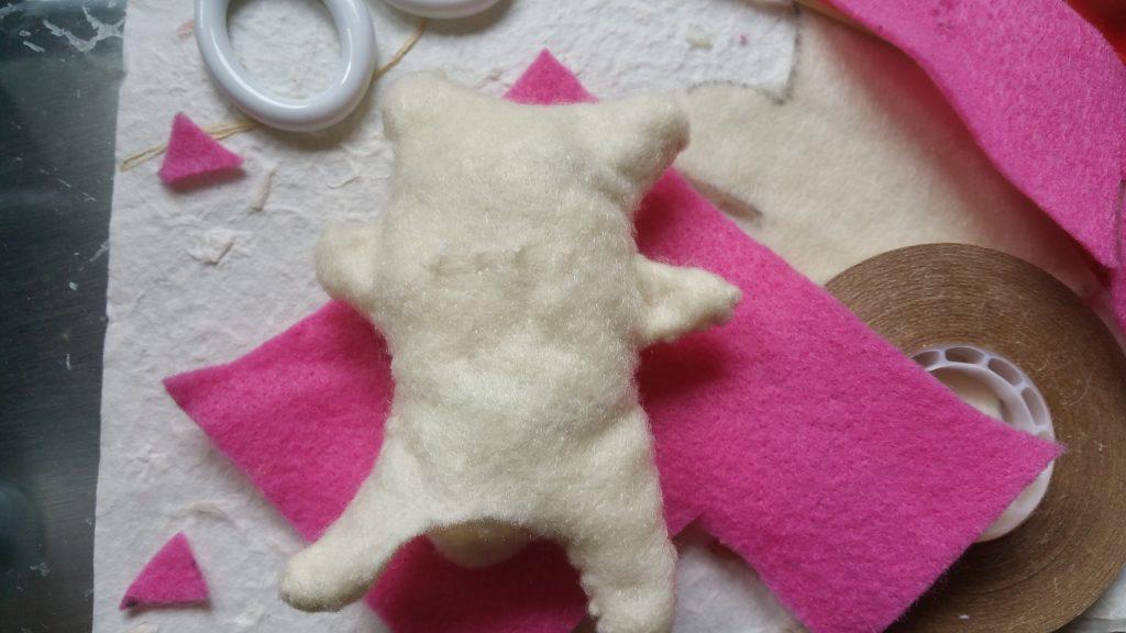 Cat body stuffed with scrap material