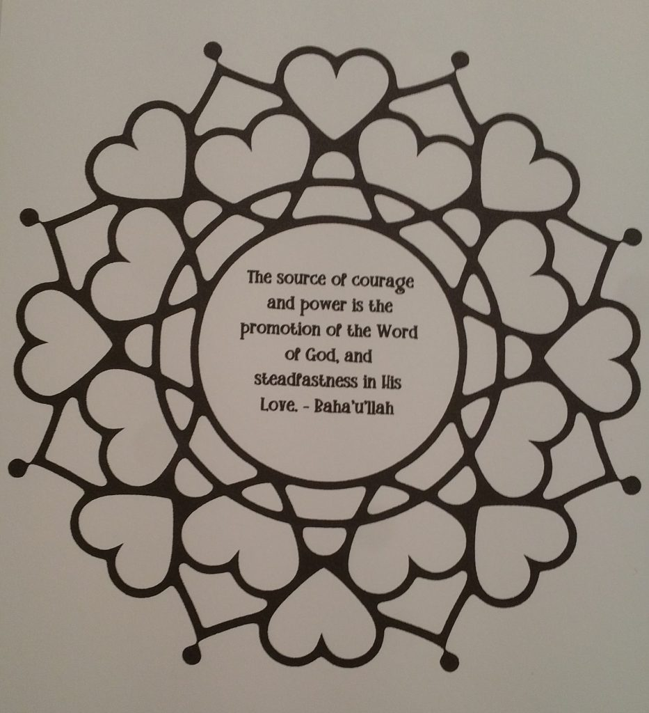 Quote on Courage in a mandala